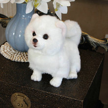 Muñeco de peluche de Pomerania para perro relleno de perro de imitación, juguete superrealista para perro para amantes de las mascotas, decoración de lujo para el hogar, Blancanieves