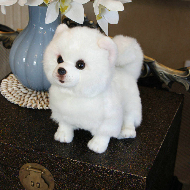 Plush Pomeranian Dog Doll Simulation Dog Stuffed Animal Toys Super
