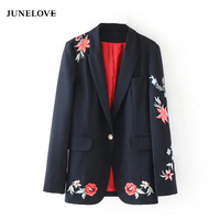 JuneLove 2018 Autumn Winter Suit Blazer Women Rose Embroidery Single Button Blazer Coat Female Long Sleeve