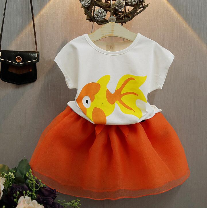 2018 New Casual Summer Toddler Baby Girls Clothes Goldfish Print Tops T-shirt+Organza Skirt 2PCS Suit Kids Chidren Clothes