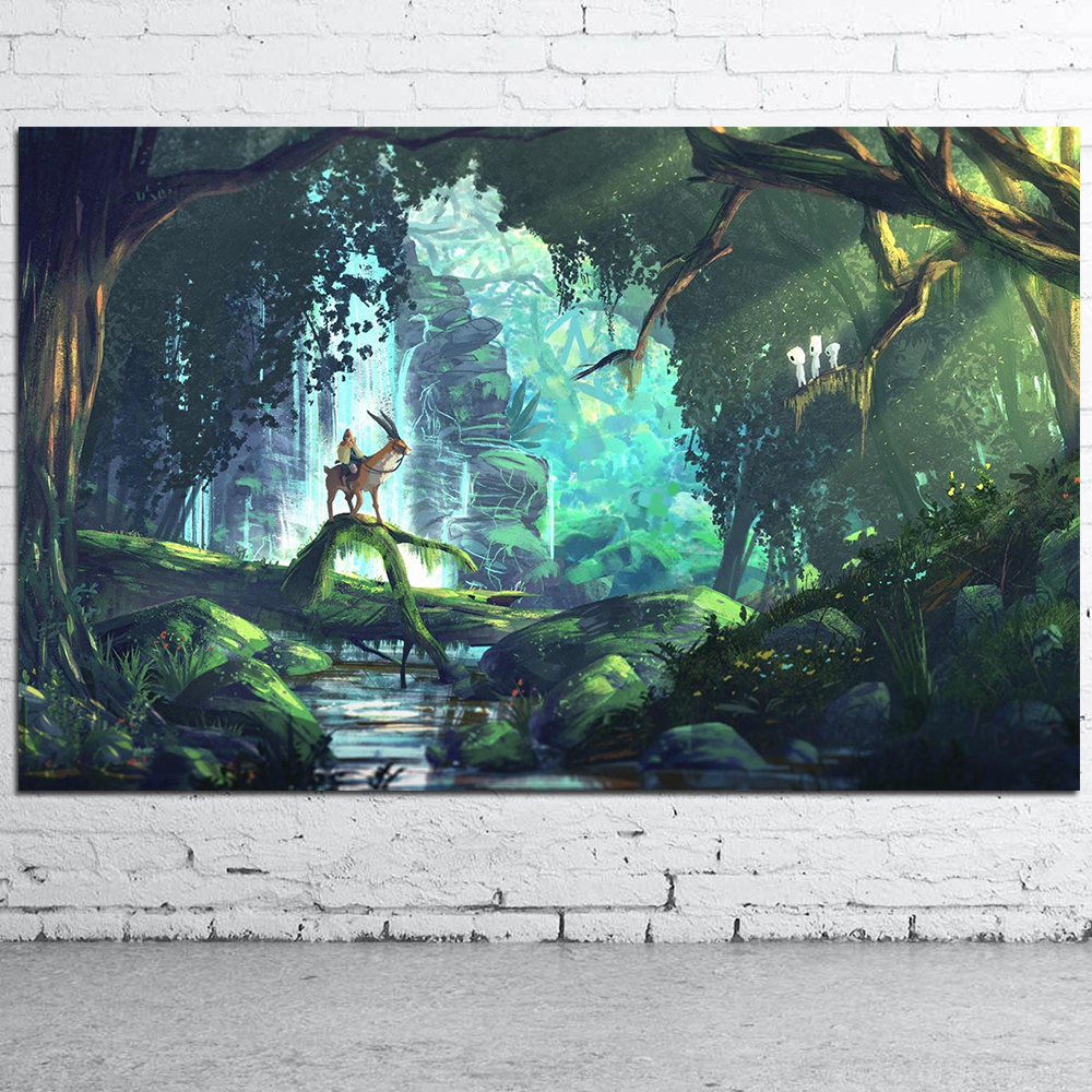 Hayao Miyazaki Princess Mononoke Anime Movie Art Canvas Posters and Prints Home Decor Wall Pictures For Living Room Bedroom image