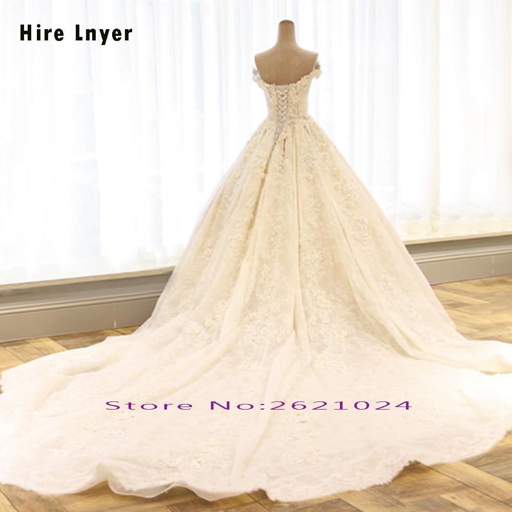 HIRE LNYER Sweetheart Short Sleeve Beading Pearls Lace Appliques Flowers Wedding Dresses Elegant Plus Size Vestido De Noiva