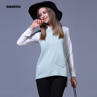 Plus Size Solid Sleeveless Pullovers Women Sweater Vest Casual Splice Knitwear Loose Pullover Knitted Sweater Women