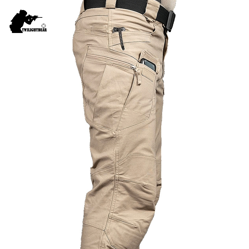 New Mens Tactical Pants Multiple Pocket Elasticity Military Urban Commuter Tacitcal Trousers Men Slim Fat Cargo Pant 3XL BFIX79