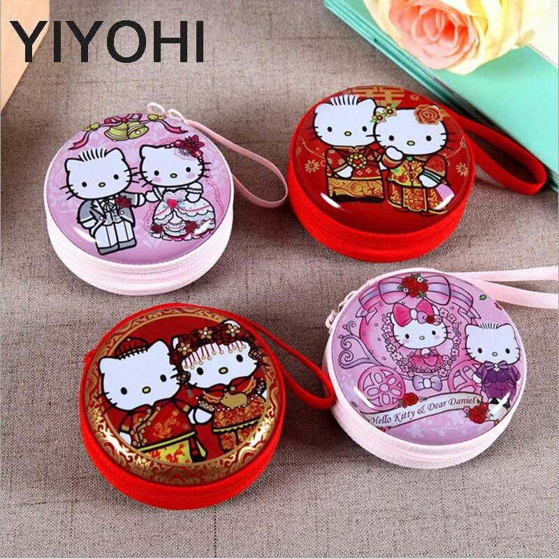 YIYOHI Women Kawaii Mini Bag Cartoon Hello Kitty Coin Purse kids Girls Wallet Earphone Box Bags Wedding Gift Wedding candy box