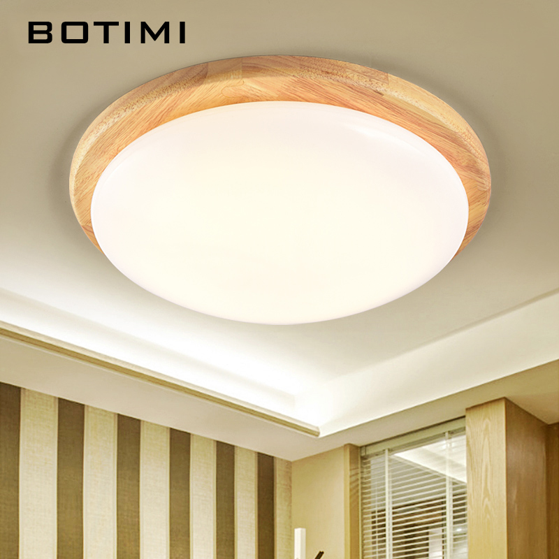 BOTIMI Janpaness LED Ceiling Lights Round Wood  Surface Mount Room Lamp lamparas de techo Lighting Fixtures For Bedroom Kitchen modern led ceiling lights for living room bedroom foyer luminaria plafond lamp lamparas de techo ceiling lighting fixtures light