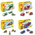 DIY 3in1 Plastic building block set Mini Sport car/Fire truck/Airplane/speeder/racer Kids Bricks toys For Kids compatible Z90