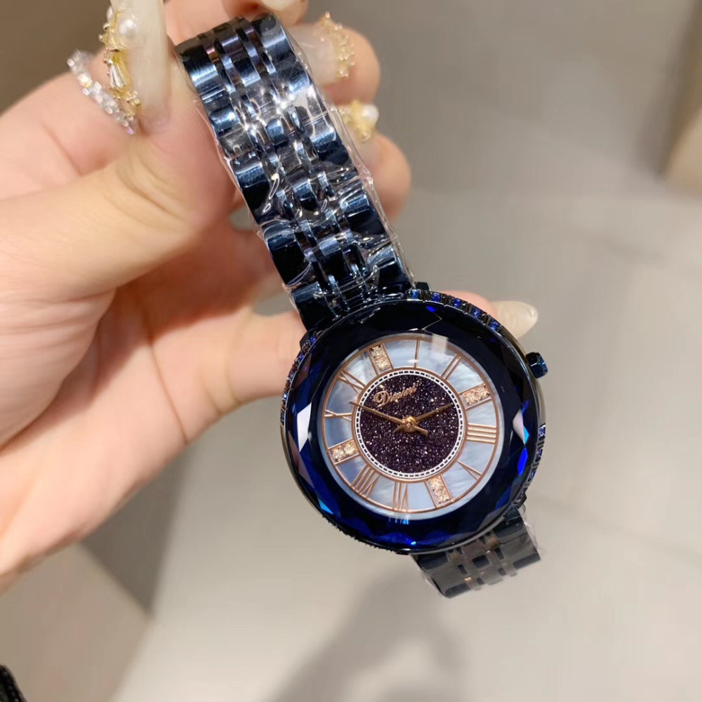 Noble Blue Anti Fading Full Steel Bracelet Watches Women Big Size Neutral Watch Quartz Roman Wristwatch Faceted Crystals Montre