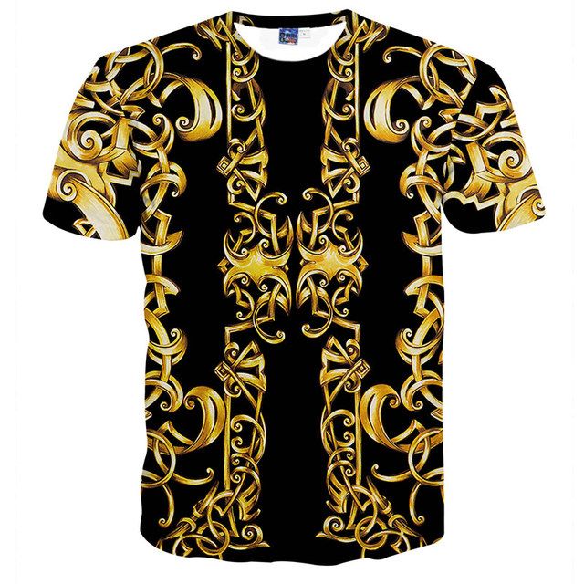 b4c9d48a6f27 Retro Gold Floral Luxury T-shirts Men Summer style Short Sleeve Royal  Flowers 3d Printed T shirt Male Gothic hip hop tops tees