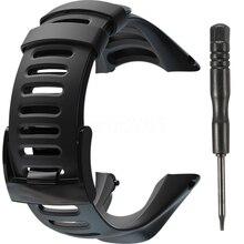 Спортивные черные резиновые часы ремешок браслет SS019474000 ремешок для SUUNTO AMBIT2 S красный/AMBIT3