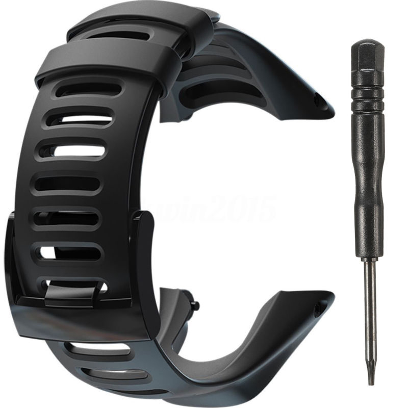 SPORT Black Rubber Watch Strap Band Bracelet SS019474000 Watchband For SUUNTO AMBIT2 S RED/AMBIT3