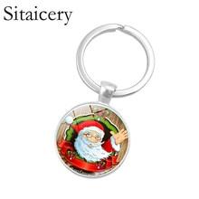 Saitaisery Brand Christmas Key Chain For Girlfriend Women Kids Gift Idea Jewelry Video Tree Deer Pattern Keychain