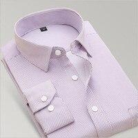New 2017 Mens Work Shirts Brand Long Sleeve Striped Twill Men Dress Shirts White Male Shirts