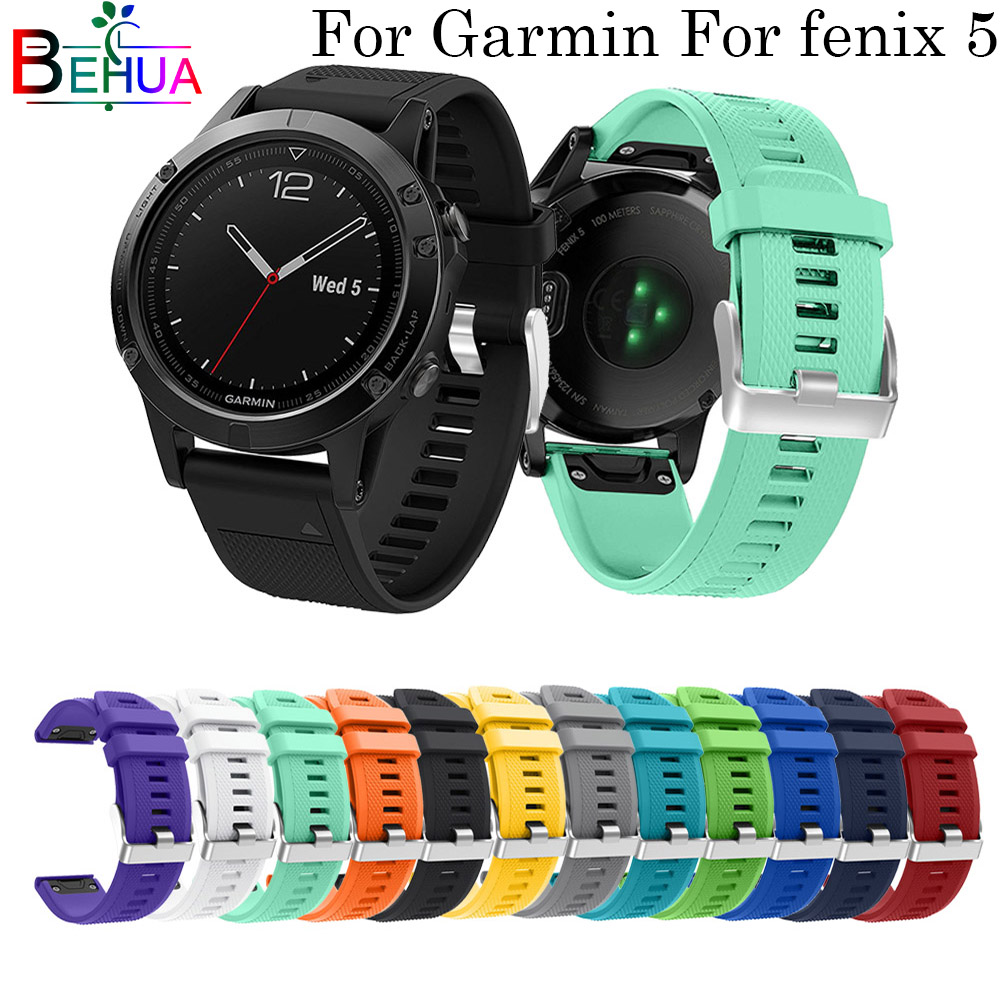 22mm Watchband Strap For Garmin Fenix 5 Smart Watch Quick Release Silicone Easy Fit Wrist Band Strap For Garmin Forerunner 935