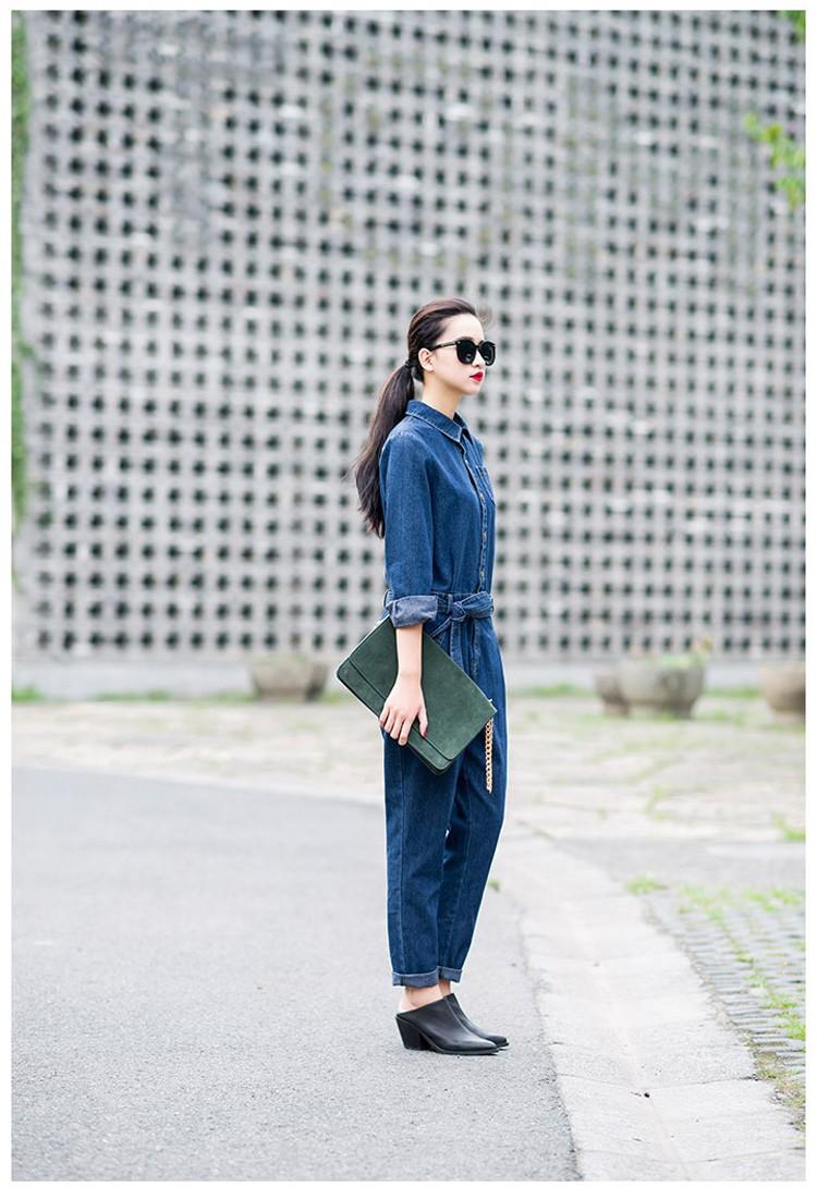 Women's Full Sleeve Casual Loose Denim Jumpsuits