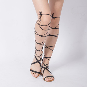 Image 2 - Sandales de gladiateur pour femmes, chaussures plates, bottes hautes Sexy, ficelle, Style été, nouvelle collection 2019, décontracté