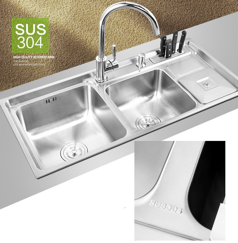 910*430*210mm multifunction 304 Stainless steel kitchen sink double bowl drainer Handmade brushed matte seamless welding sink stainless steel material double kitchen sink strainer with flexible hose x19028