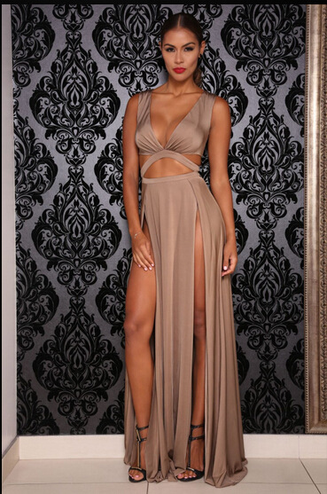 9c16afdd86 America sexy V-neck bandage prom nude dress european night club bandage slit  vestidos Boho
