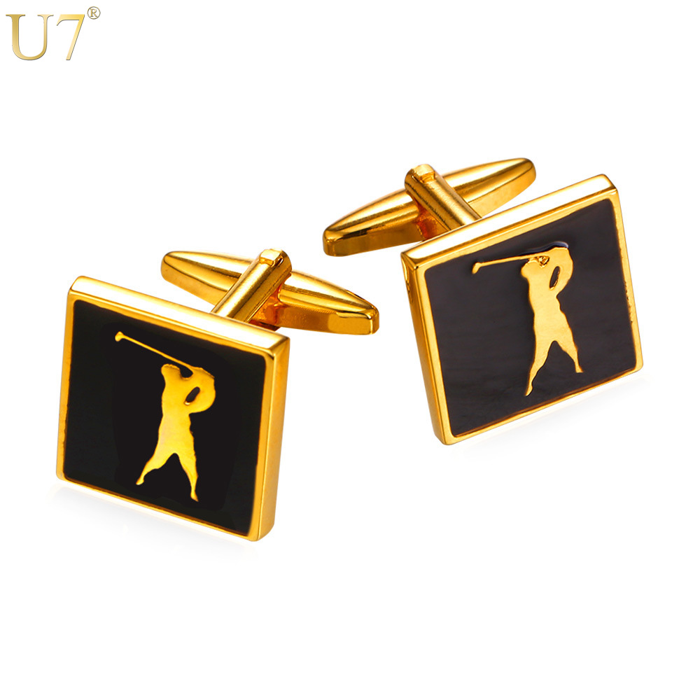 U7 New Sporty Cufflinks For Mens Enamel Fashion Jewelry Gold Color Cuff Links Golf Jewel ...