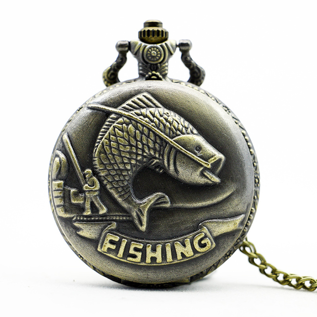 Vintage Full Hunter Fish Pattern Bronze Pocket Watch Quart Pendant Chain Necklac