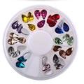 Multicolor 12 Colores Gotas de Agua de Acrílico Glitters Nail Art 3D Decoración de Navidad Encanto Espárragos de Spike Joyería Herramienta de la Manicura