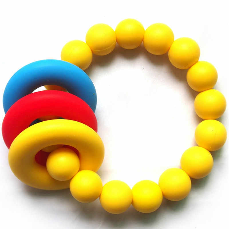 2pcs/lot Natural Baby Toy Silicone Teething Ring Toy in Rainbow Chewable Teether Silicone Toy Teething Baby Shower Gift
