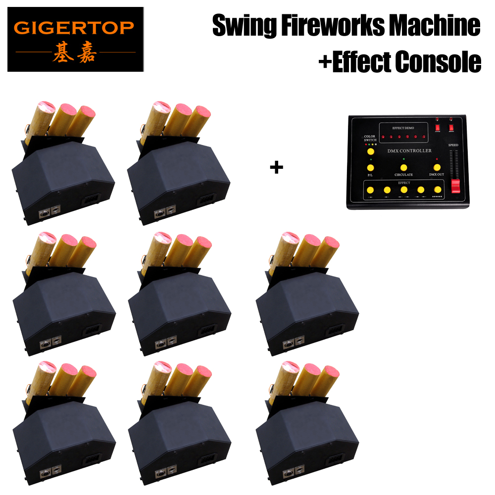 Freeshipping 8pcs 3 Heads fireworks machine + 1pcs DMX 512 Controller swing fire work effect 110V-240V for wedding party disco