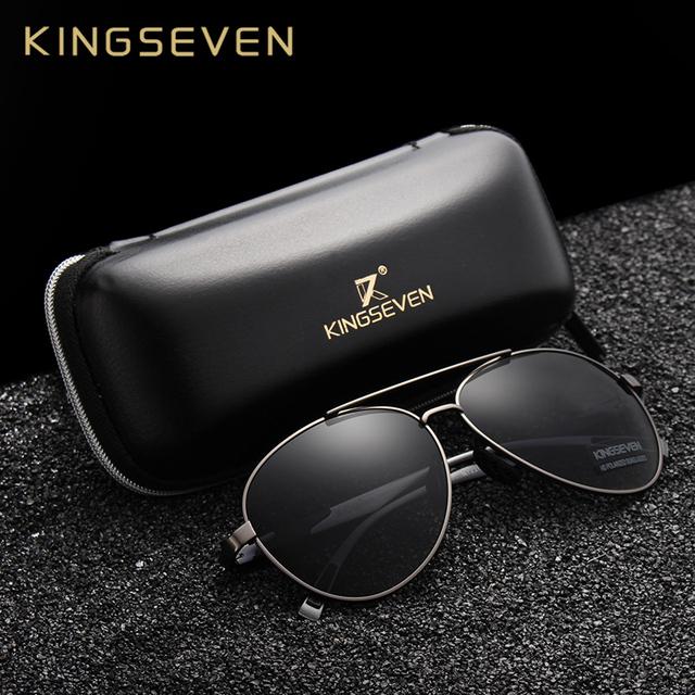 KINGSEVEN 2018 New Aviation Gun Gradient Sunglasses Brand Men Design Sun glasses Polarized HD Aluminum Driving Oculos N7228