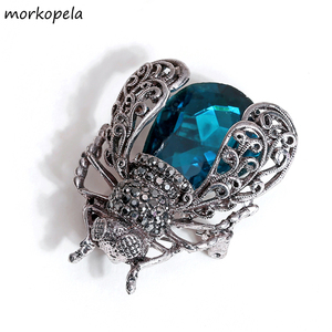 Morkopela Crystal Insect Brooch Beetles Brooches Pin Fashion Brooch For Women Pins Scarf Clip Jewelry Broach Bouquet(China)