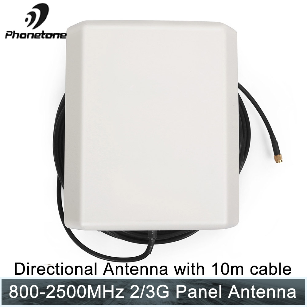 2/3/4G Antenna For Repeater 800-2500MHz 9dBi SMA Male Connector Outdoor Panel Antenna With 10M Cable For Cellular Signal Booster