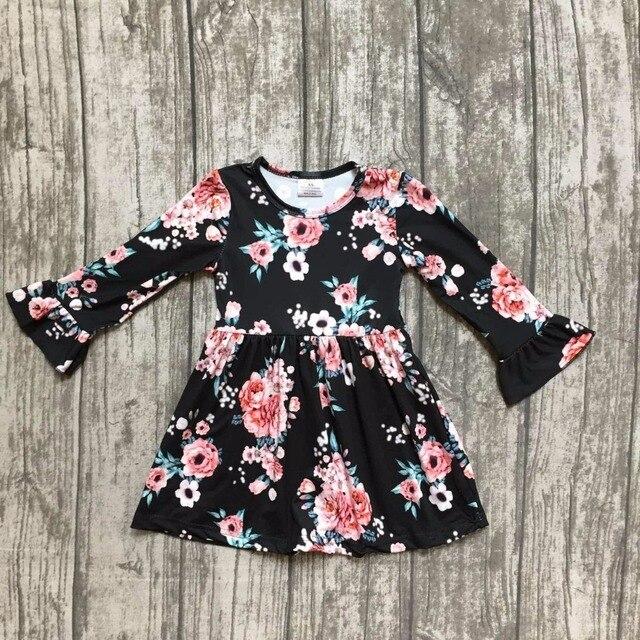 cfc1674bf Meninas do bebê cair roupas vestido crianças vestido floral crianças  crianças Queda preto floral meninas vestido