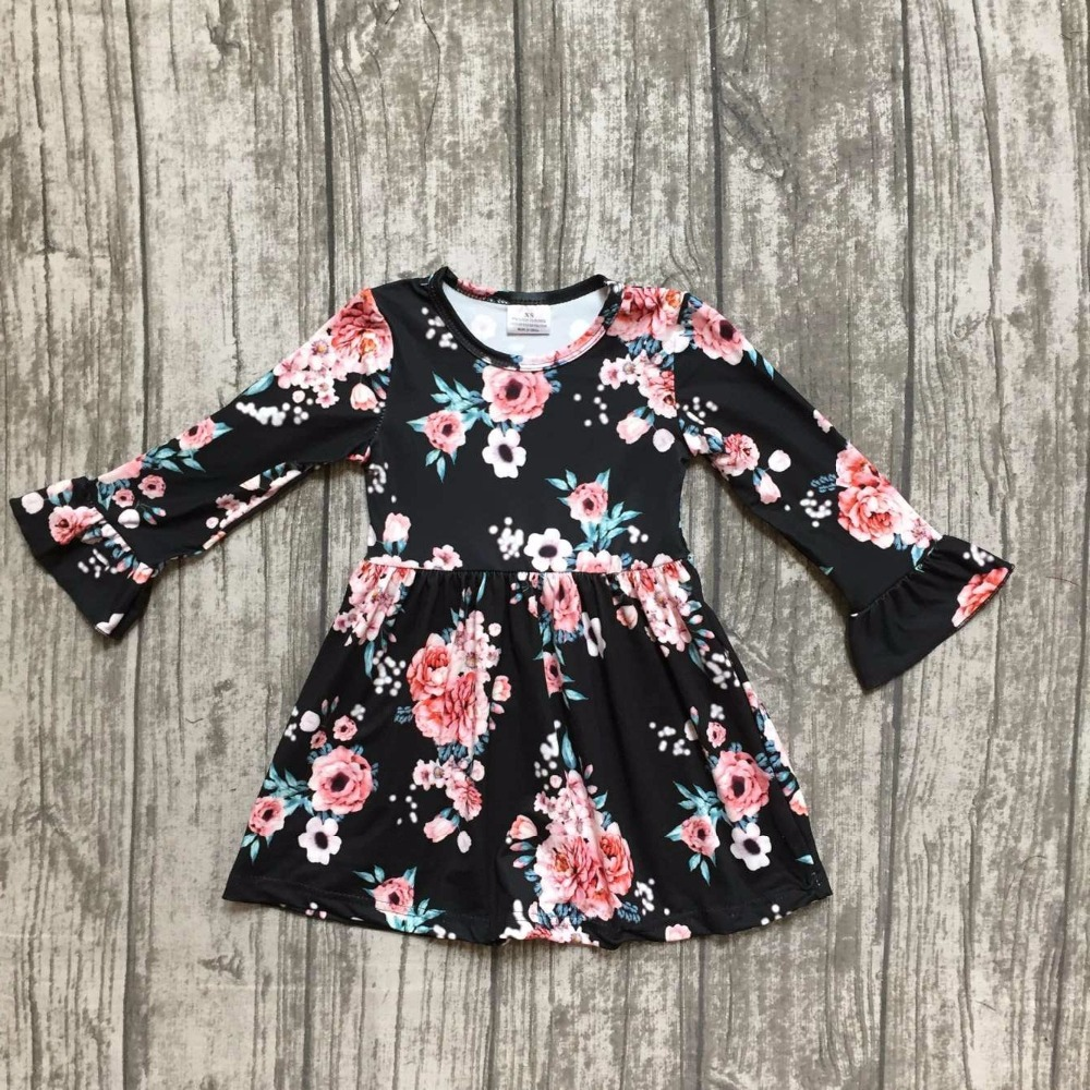 baby girls fall dress clothing children floral dress kids children Fall black floral dress girls boutique Fall dress clothing пуховики boutique children s clothing 1305 2015