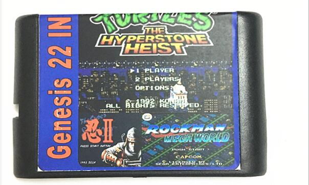 최신 22 in 1 게임 카트리지 16 비트 MD 게임 카드 Sega Mega Drive For Sega Genesis