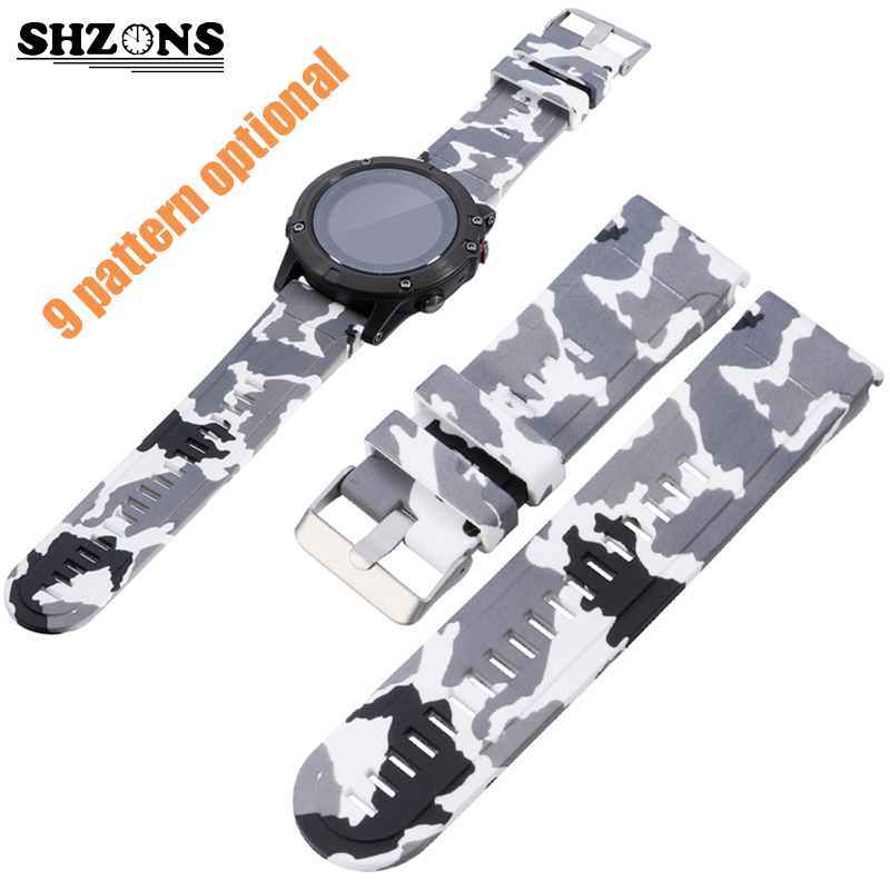 SHZONS Colorized Printing Silicone Replacement Wrist Band Quickfit Strap 26MM for Garmin Fenix 5/5X/5S Strap Smart Accessories