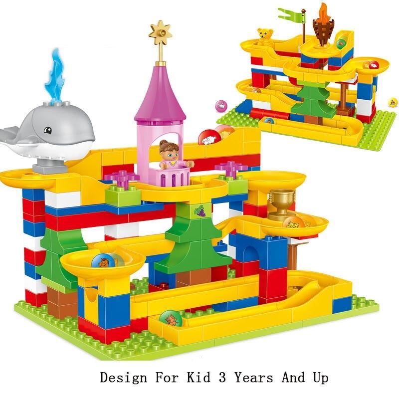 137 pièces Marbre Course Run boule de rangement Piste blocs de construction entonnoir en plastique Toboggan grande taille Briques Compatible Legoings Duploe ensemble de blocs
