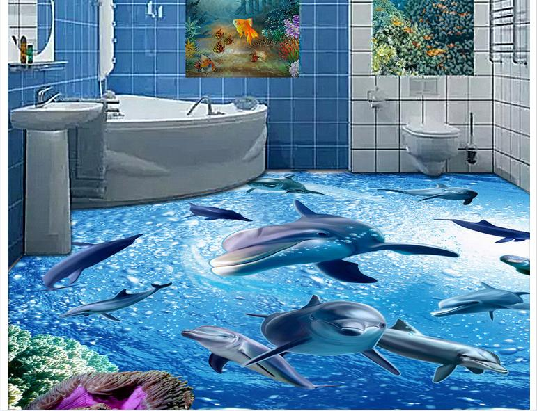 Customized 3d photo wallpaper 3d floor painting wallpaper 3 d bathroom floor is a group of dolphins 3 d living room decoration 3d wallpaper custom 3d flooring painting wallpaper bottom of the sea bathroom floor tile 3 d art wall 3d living room decoration