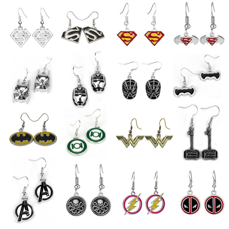 16 Gaya Film Perhiasan Anting-Anting Justice League Superman Avengers Super Hero Emas Informan Anting-Anting untuk Para Penggemar Hadiah Dropshipping