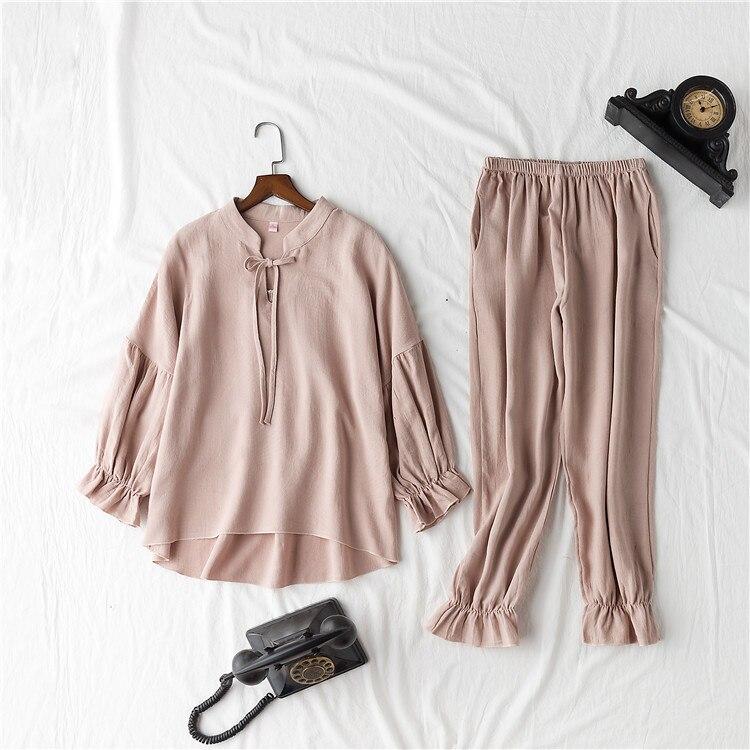 Image 3 - Daeyard 100% Cotton Pajama Sets Women Vintage Long Sleeve Shirts and Trousers 2Pcs Soft Pyjamas Sleepwear Cute Pullovers Suit-in Pajama Sets from Underwear & Sleepwears