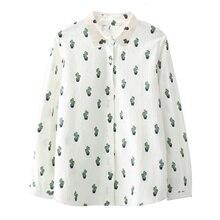 43876ec2cef Women Cartoon Cactus Pattern Printed Cotton Blouse Long Sleeve Button  Casual Top Shirt(China)