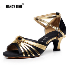 NANCY TINO Professional Latin Dance Shoes Womens Adult High-heeled Friendship Square Practice Soft Bottom