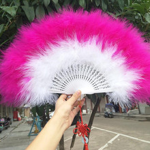 Beautiful high quality fluffy feather hand fan dance stage show props wedding party 1pcs Goose decoration