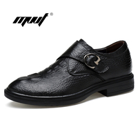 Luxury Men Dress Shoes Buckle Crocodile Formal Handmade Genuine Leather Men Flats Shoes Gentleman Brand Oxford