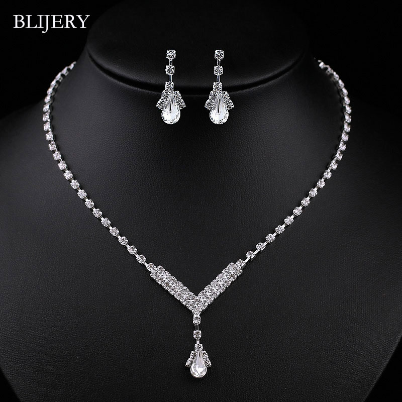 BLIJERY Simple Styles Crystal Wedding Jewelry Sets Silver Color Rhinetsone Necklace Earrings Set for Women Bridal Jewelry Sets