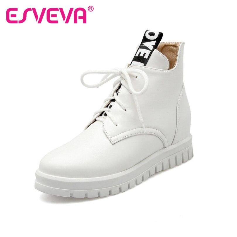 ФОТО ESVEVA Plus Size 34-43 White Lace Up Leisure Woman Shoes  Wedges  Heel Ankle Boots PU Women Shoes Ladies Pink Platform Boots