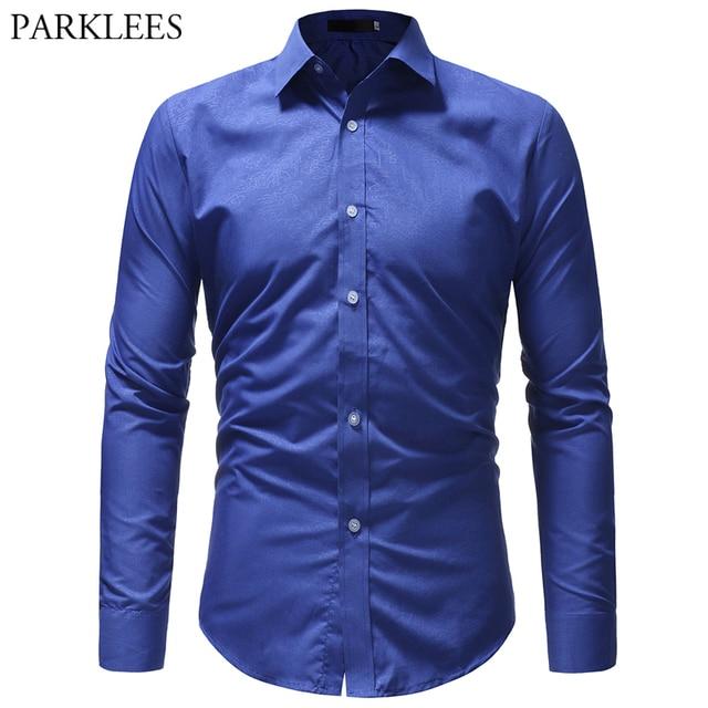 Casual Camisa azul real para los hombres de corte Slim de manga larga de  hombre sólido e4f220bfa33