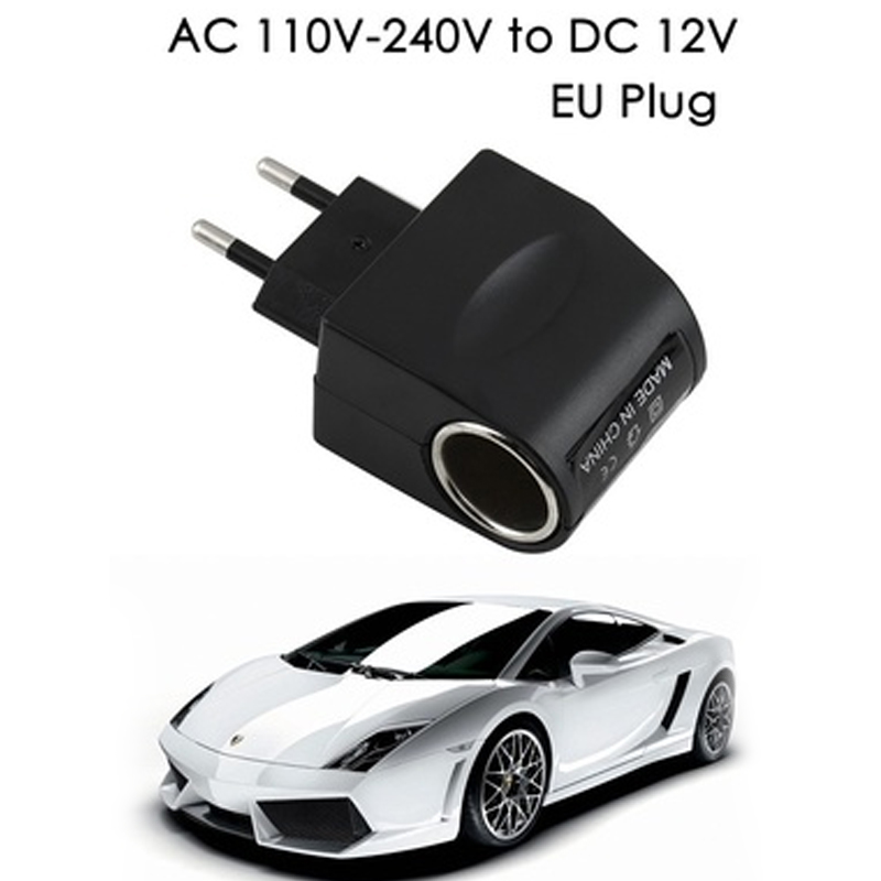 Universal EU Plug 220V AC to <font><b>12V</b></font> DC <font><b>Car</b></font> <font><b>Power</b></font> <font><b>Adapter</b></font> Socket Converter Home Auto Cigarette Lighter image