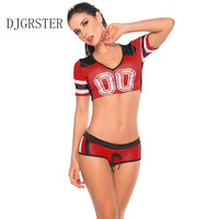Moda School Girls Sexy Cheerleaders DJGRSTER Cheerleading Kostiumy Sex Kobiety Kostium 2 sztuk Kobiet Top + Szorty