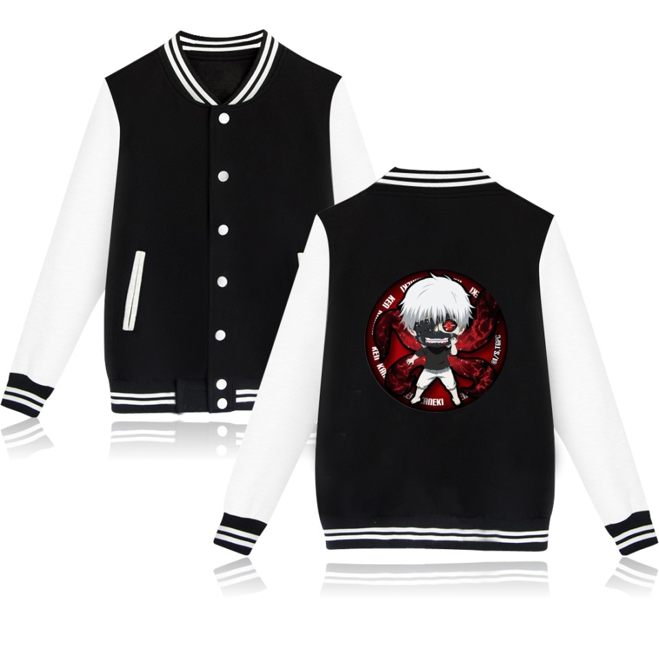 Tokyo Ghoul Anime Baseball Jackets Female Winter Jacket Fashion Women Winter O Neck Hot Sale Clothers XXS-4XL
