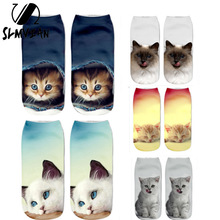 SLMVIAN New 3D Printing Women Socks Brand Sock Fashion Unisex Socks Cat Pattern Meias Feminina Funny Low Ankle HOT