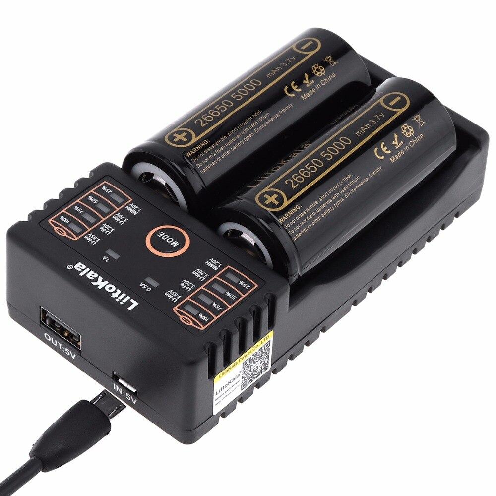 LiitoKala Lii-202 cargador de batería + 2 unids HK LiitoKala Lii-50A 26650, 5000 mAh batería recargable para linterna 40-50A descarga
